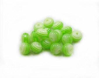 Green Stripe Beads, Plastic Beads, Green Beads, Green Plastic Beads, Stripe Beads, 10pcs Beads, Craft Supplies, Jewelry Making