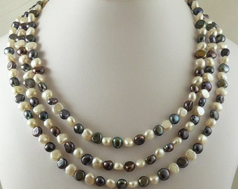 Freshwater Black and White Pearl Nested Necklace with Sterling Silver Clasp