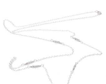 delicate silver necklace sterling silver necklace long necklace delicate necklace tiny silver necklace bead necklace dainty necklace