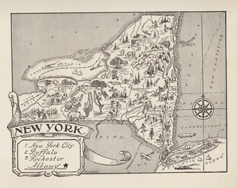 50's Whimsical NEW YORK Map Print of New York State Map Black and White Gallery Wall Art New York Pictorial Map