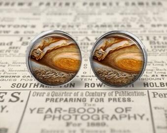 Jupiter Earrings, Great Red Spot, Jupiter Jewelry, Space Earring, Large 16mm Stud Earrings or Dangle Earrings, Space Jewelry, Planet Jewelry