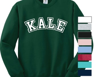 Kale Sweatshirt University inspired Yale inspired healthy crew neck crewneck kale shirt vegetarian pull over sweatshirt pullover college