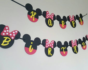 Minnie Mouse Banner Mickey Mouse Happy Birthday Banner / Garland / Sign / Decoration / Party / Minnie and Mickey Mouse / Twins / Disney