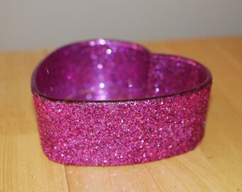 SALE - Reduced Price - Pink Glittered Heart Shaped Candy Dish
