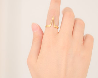 Chevron V Ring --  Sterling Silver V Ring, Everyday Ring, Simple Ring, Delicate V Ring, Minimalist Jewelry, Deep V Ring, Gold Stacking Ring