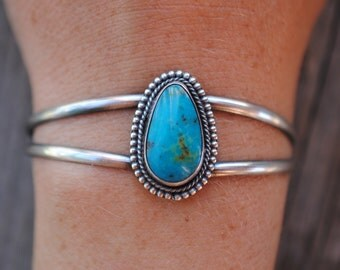Large Kingman Turquoise Cuff | Sterling Silver