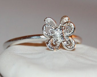 Silver Stacking Ring, Silver Stacking Band, Silver Butterfly Ring, Delicate Butterfly Ring, Butterfly Stacking Ring, Butterfly, Thumb Ring