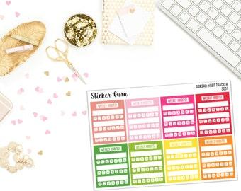 5 LEFT! Weekly Habit Tracker Sidebar Stickers #1 // 8 Planner Stickers [S001]