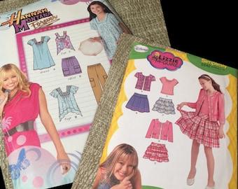 Girls Simplicity Sewing Patterns LOT Size 7-16 (Complete Original Uncut) Hannah Montana, Lizzie McGuire Clothes