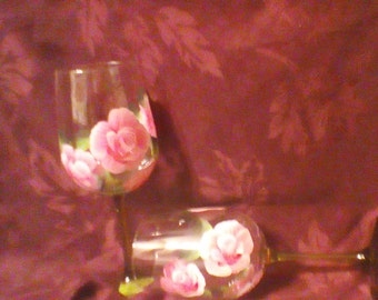 Hand painted Red Wine glasses