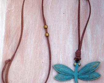 Vintage Dragonfly Neckglace-Antique Bronze Dragonfly turquoise Patina-boho-long adjustable necklace-nature