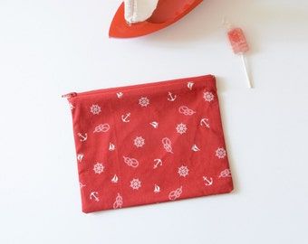 Nautical clutch , zippered pouch with anchors printed , makeup pouch , travel pouch, nautical pouch , babyshower gift , red  , christmas