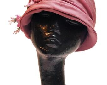 1920s Lilac Chiffon Cloche Hat