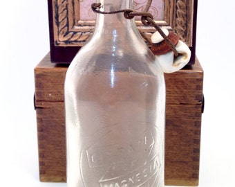 Vintage Citrate of Magnesia Bottle Antique Medication Apothecary Display Piece with Embossed Glass & Wire Bail from Early 1900's  (F)