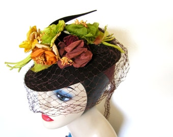 Vintage 1940's Brown Wool Floral Tilt Hat w/Netting~ New York Creations