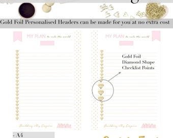 GOLD FOIL Printable Checklist Planner Page | Day Organiser | To Do List | Checklist | Notes | a5 | a4 | letter inserts | Planner Pages |