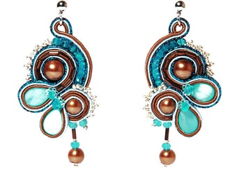 Earrings Turquoise Pearls Soutache Bronze