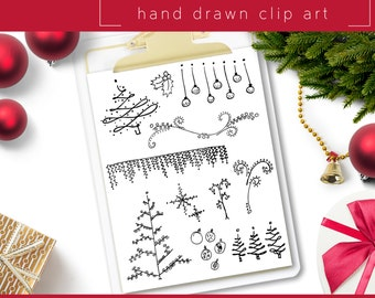 Hand Drawn Clip Art / PNG files / Photoshop brushes / Digital Download / Christmas / Holiday / Christmas Tree / Garland / Ornament / Vine