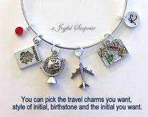 Travel Charm Bracelet, Vacation Gift, Best Friends Vacation Souvenir, Silver Bangle, Travel Jewelry, World Globe Airplane Passport Luggage