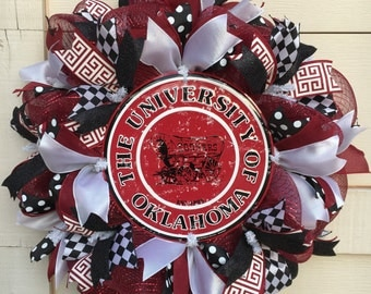 University of Oklahoma wreath,OU wreath,OU decor,University of Oklahoma decor,Boomer Sooner wreath,Boomer Sooner decor,Ou door decor,OU gift