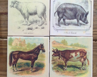 Vintage-Inspired Farm Animal Coasters (Set of 4)