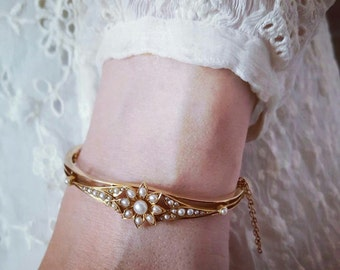 Victorian Gold Bracelet | Antique Gold Bangle | Victorian Pearl Bracelet | Pearl Bangle | Antique Wedding Jewelry | Victorian Gold Jewelry