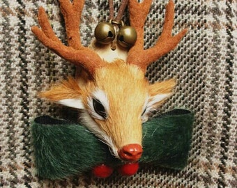 Christmas vintage reindeer elk necklace/chain/brooch