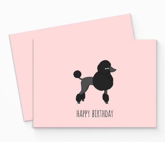 Printable Poodle Birthday Card. Digital Happy Birthday Poodle