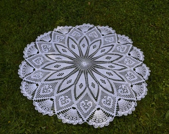 Crochet doily / Lace / White (color Nr.1)/ 40 inches  (100 cm) / tablecloth, D-19