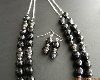 Black Onyx and Czech Glass Double Strand Beaded OOAK Necklace and Earrings Set