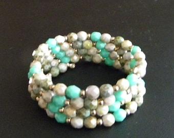 SALE! Multi Green Czech Fire Polish Glass OOAK Memory Wire Beaded Bangle Bracelet