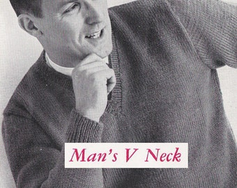 """PDF of vintage men's knitting pattern, """"Man's V-Neck Slip On (Pullover)"""", sizes 36 to 52 (bust/chest 34"""" to 50""""), from 1960."""