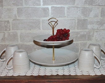 2 tier neutral cake stand with mug set, two tier contemporary dessert stand, Urban fruit stand, pastry stand, buffet
