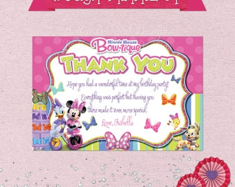 Minnie Mouse Bowtique Birthday Thank You Card - With or Without Text Available - Minnie Thank You Card