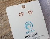 Copper Heart Stud Earrings - Tiny Wire Heart Post Earrings - Love - Friendship - Gift - Petite - Handmade Maine Jewelry - Valentines Day