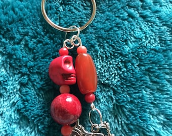 Red skull, motorcycle keychain