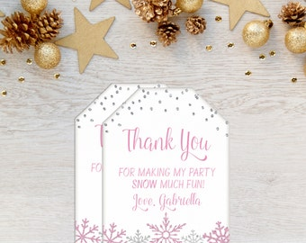 Snowflake Tags, Winter Birthday Favor Tags, Winter Wonderland, Favor Tags, Snowflakes, Onederland, Snow Much Fun, Printable, Frozen