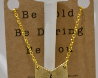 Personalised Chevron Pendant On Gold Chain- Customisable