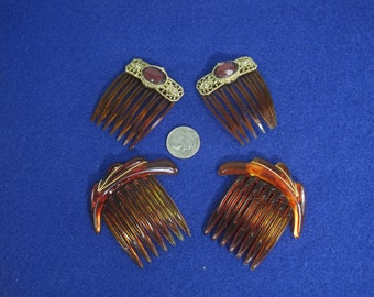 Vintage Hair Clips Lot of 4 Beautiful and Antique Costume Hair Clips
