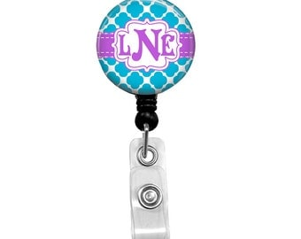 Name Badge Holders Retractable ID Badge Reel, Monogrammed Badges Personalized Name Tag Nurse Badge Holder Lvn RN Badge Clips Quatrefoil 178B