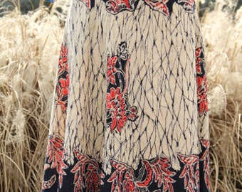 vintage indian cotton wrap skirt with print