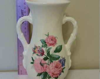 vintage double handle vase by royal copley - two handles w/ roses floral design - bud kitchen bathroom home decor antique tulips pink green