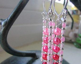 Heart earrings , Chandelier earrings , Pink and silver earrings , Silver plated earrings , Dangle earrings