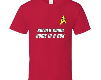 Star Trek Red Shirt Security - Boldly Going Home In A Box T-shirt