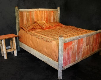 Rustic Barn Wood Bed -King Size w/ matching night stands