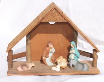 Vintage Christmas Nativity Scene Set Wood Stable Made in Japan