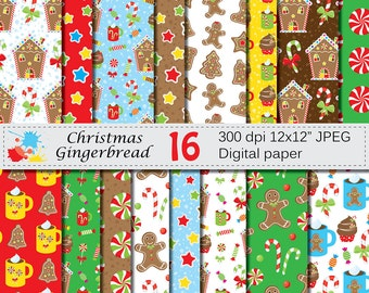 Christmas Gingerbread Digital Paper Set, Gingerbread House, Cookies, Candy Cane, Christmas Cupcakes Digital Papers, Instant Download