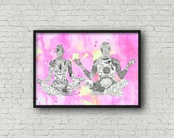 yoga art for bedroom, yoga poster print, new age couple gift, yoga couple gift, romantic bedroom art, romantic wall art, yoga art for home