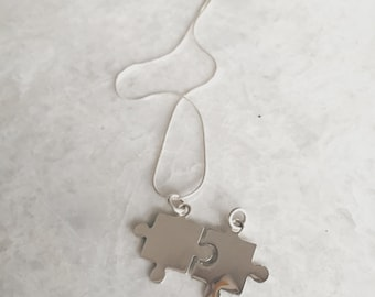 Sterling silver two puzzle pendant necklace, Puzzle pendant necklace, Puzzle charm necklace, Silver puzzle pendant necklace, (CH17)