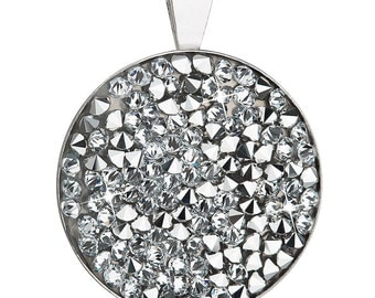 Round Swarovski Pendant Made with Rhodium-Plated Silver and Swarovski Elements Crystals